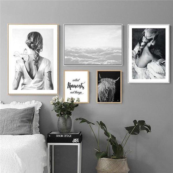 Nordic Canvas Painting Black White Figure Lady Wall Art Print Poster Modern Minimalism Living Room Bedroom Home Decor Painting