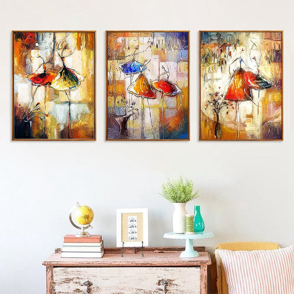 Dancing Girl Abstract Painting Nordic Canvas Painting Impression Watercolor Picture Wall Art Painting Living Room Decor Poster