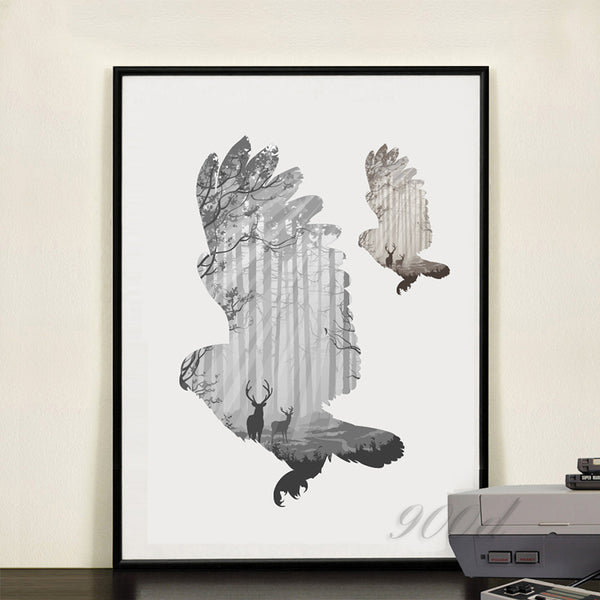 silhouette of a flying owl with pine forest Canvas Art Print Painting Poster,  Wall Picture for Home Decoration,  FA396-6
