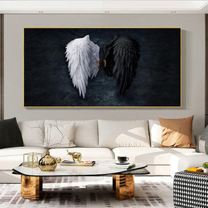 Black and White Angel wings Canvas Paintings on the Wall Art Posters and Prints Wings Abstract Wall Pictures Home Decoration