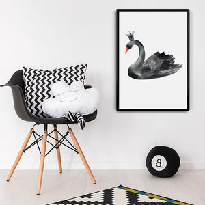 Watercolor Black Swan Canvas Art Print Painting Poster,  Wall Pictures for Home Decoration, Giclee Print Wall Decor S16012