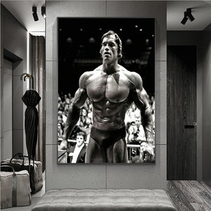 Modern Canvas Painting Arnold Schwarzenegger Bodybuilding Posters Motivational Quote Art Fitness Inspirational Wall Art Picture