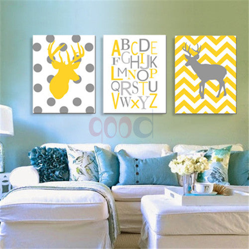 Cartoon Deer Chevron Art Print Canvas Painting Poster, Wall Pictures For Nursery Room Home Decoration,  set of 3   FA083