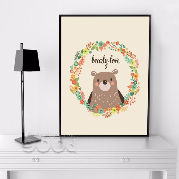 Cartoon Bear Canvas Art Print Painting Poster, Wall Pictures for Home Decoration, Wall Decor FA238-3