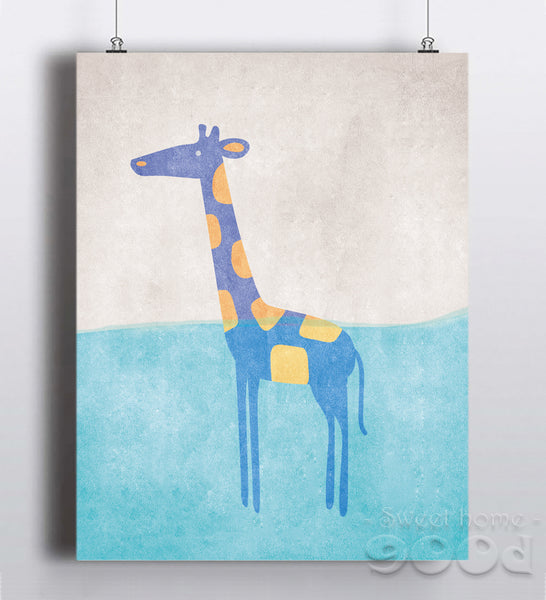 Vintage Cartoon Giraffe Canvas Art Print Painting Poster,  Wall Pictures for Home Decoration, Nursery Home Decor YE105