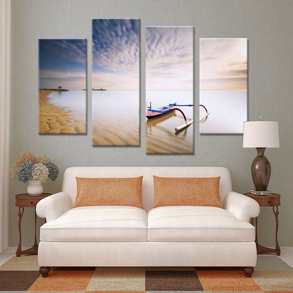 4PCS boat belong beach set paints Wall painting print on canvas for home decor ideas paints on wall pictures art No framed