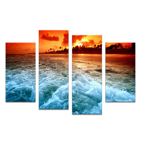 4PCS the best selling tropical sunset  Wall painting print on canvas for home decor ideas paints on wall pictures art No framed