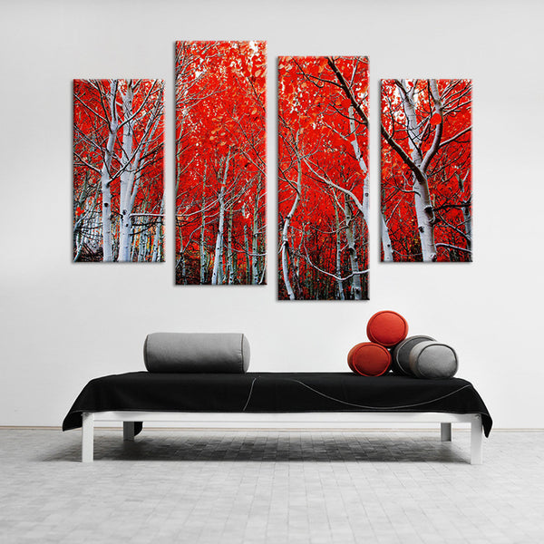 4PCS red leaf trees arts  Wall painting print on canvas for home decor ideas paints on wall pictures art No framed