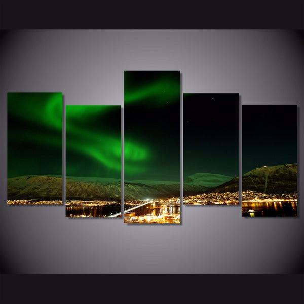 HD Printed Norway Northern Lights landscape Painting on canvas room decoration print poster picture canvas Free shipping/NY-6339