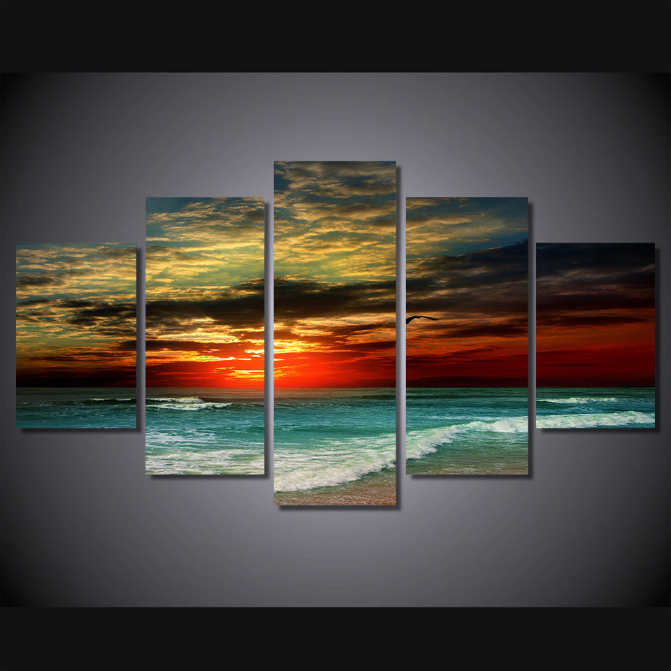 HD Printed Seascape sunset beach sea shore Painting 5pcs decor print poster picture canvas Free shipping/ny-4333