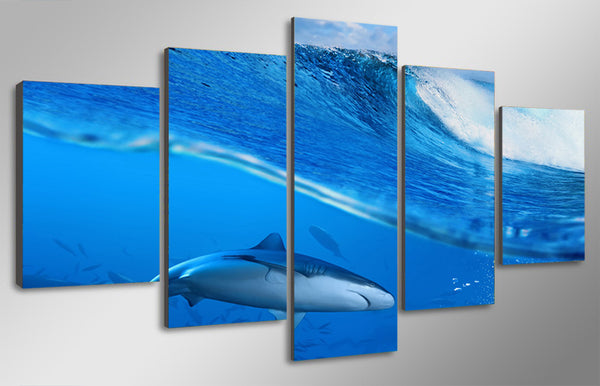 HD Printed Waves blue sea shark Painting on canvas room decoration print poster picture canvas Free shipping/ny-2086