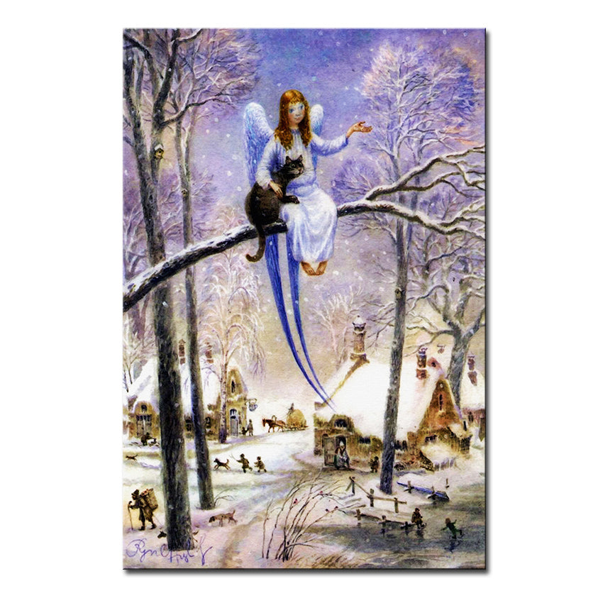 Vladimir Rumyantsev girl on the trees cat world oil painting wall Art Picture Paint on Canvas Prints wall painting no framed