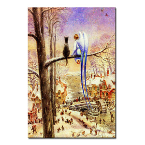 Vladimir Rumyantsev forward cat world oil painting wall Art Picture Paint on Canvas Prints wall painting no framed