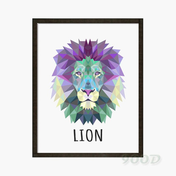 Geometric Lion Canvas Art Print Painting Poster, Wall Pictures for Home Decoration,  wall decor FA237-22