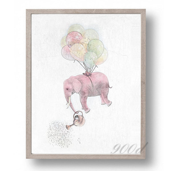 Elephant with Balloon Sketch Canvas Art Print Painting Poster,  Wall Pictures for Home Decoration, Wall Art Decor Ye15-2