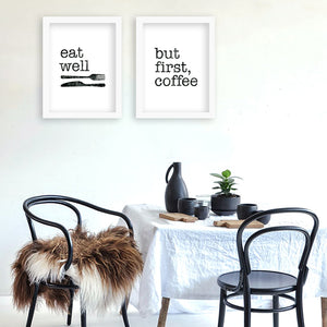 Wall poster eat well but firsr coffee Quote Canvas Art Print Poster Wall Pictures for Home Decoration Frame not include v29
