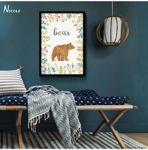 Watercolor Deer Bear Fox Nordic Art Canvas Poster Painting Forest Animals Minimalist Picture Home Children Room Wall Decoration