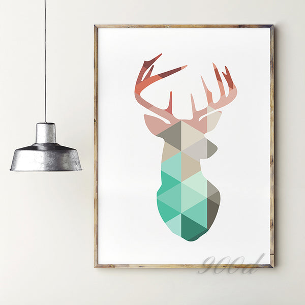 Geometric Coral Deer Head Canvas Art Print Poster, Mint Deer Wall Pictures for Home Decoration, Wall Art Decor FA237-13