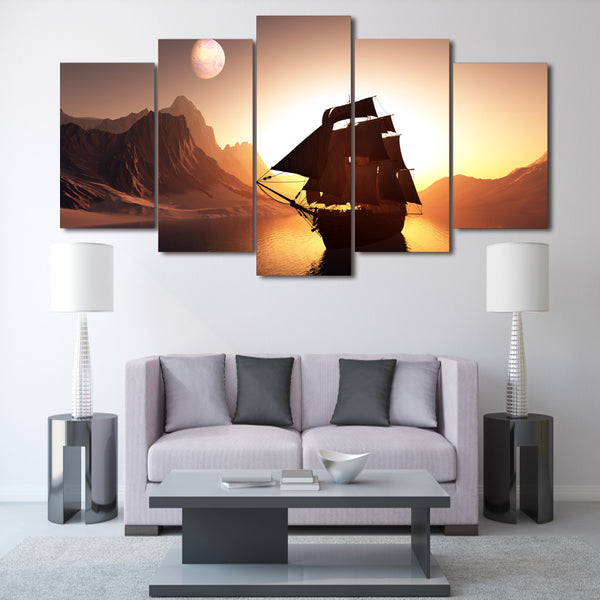 HD Printed Sunset Sailing Painting on canvas room decoration print poster picture canvas Free shipping/ny-2168