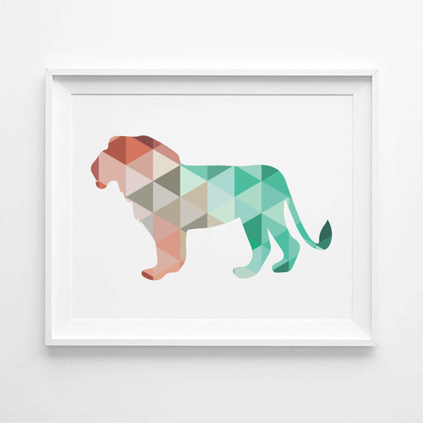Geometric Lion Canvas Art Print Painting Poster, Wall Pictures for Home Decoration,  Wall Art Decor FA237-21