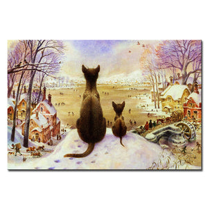 Vladimir Rumyantsev double cat world oil painting wall Art Picture Paint on Canvas Prints wall painting no framed