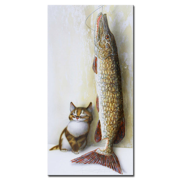 Vladimir Rumyantsev stay with fish by cat world oil painting wall Art Picture Paint on Canvas Prints wall painting no framed