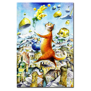 Vladimir Rumyantsev on the building cat world oil painting wall Art Picture Paint on Canvas Prints wall painting no framed