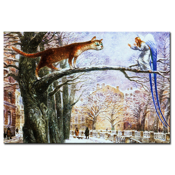 Vladimir Rumyantsev catching cat world oil painting wall Art Picture Paint on Canvas Prints wall painting no framed