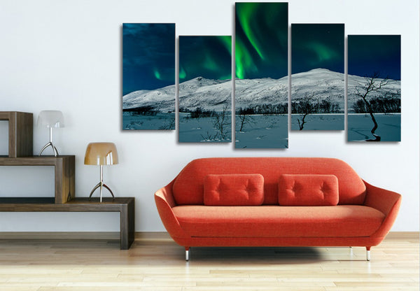 HD Printed aurora borealis Scenery 5 piece Painting wall art room decor print poster picture canvas Free shipping/ny-934