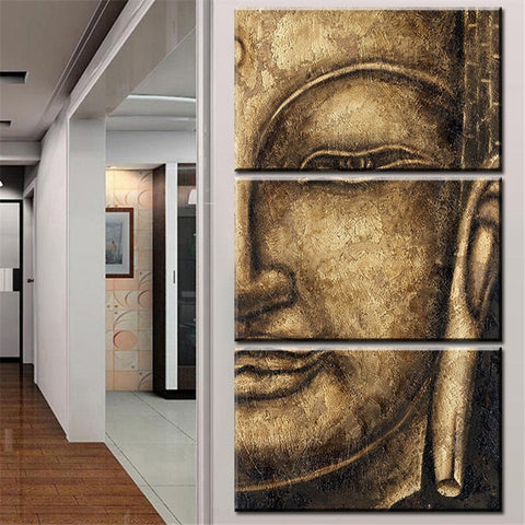 The original High Quality HD print Oil Painting 3 Panel Wall Art Religion Buddha Oil Painting On Canvas NO Framed wall picture