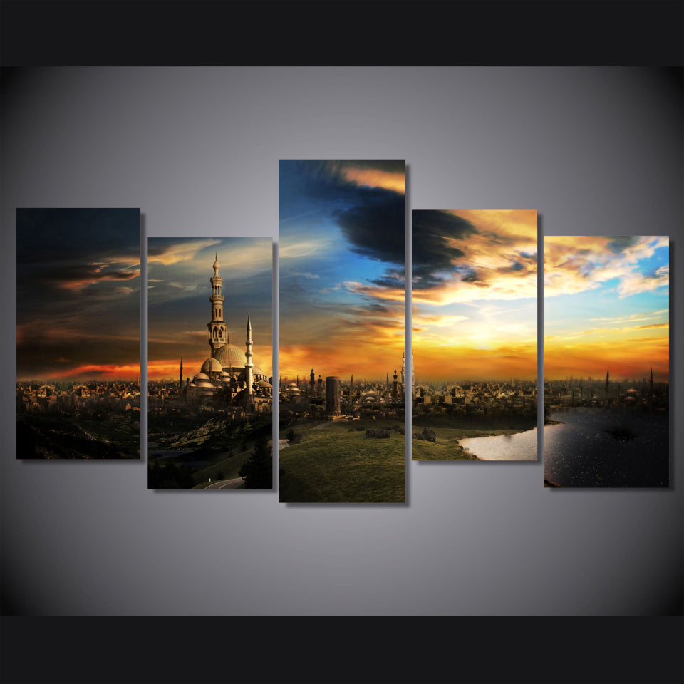 HD Printed sunset over fantasy lands picture Painting wall art room decor print poster picture canvas Free shipping/ny-888