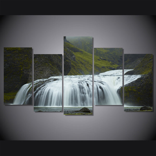 HD Printed iceland waterfall green Painting on canvas room decoration print poster picture canvas Free shipping/ny-1828