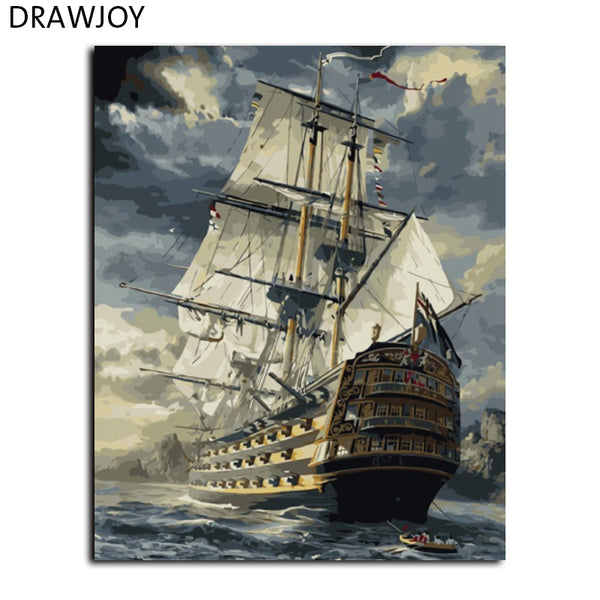 Seascape Frameless Pictures DIY Painting By Numbers Wall Art DIY Canvas Oil Painting Home Decor For Living Room GX6923 40*50cm