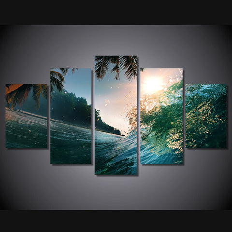 HD Printed sea wave beautiful sunset Group Painting Canvas Print room decor print poster picture canvas Free shipping/ny-1478