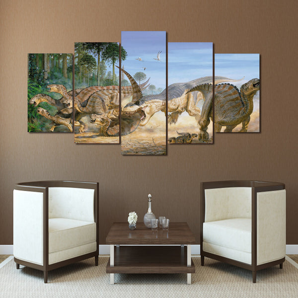 HD Printed Animation Dinosaur Group Painting Canvas Print room decor print poster picture canvas Free shipping/ny-484