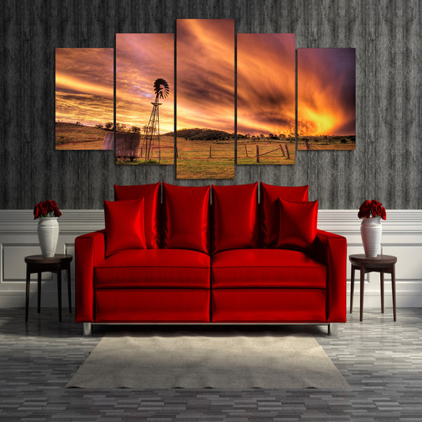 HD Printed Sunset landscape 5 pieces Group Painting room decor print poster picture canvas Free shipping/ma-069
