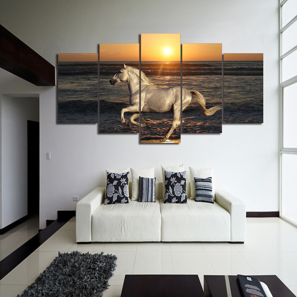 HD Printed white horse at the beach Painting on canvas room decoration print poster picture canvas Free shipping/ny-2825