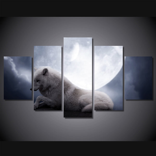 HD Printed white wolf resting animal Painting on canvas room decoration print poster picture canvas Free shipping/ny-2834