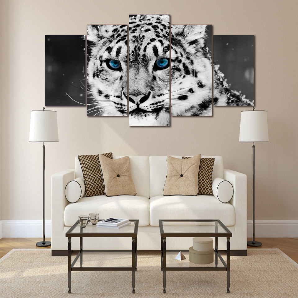 HD Printed snow leopard black white picture Painting wall art room decor print poster picture canvas Free shipping/ny-621