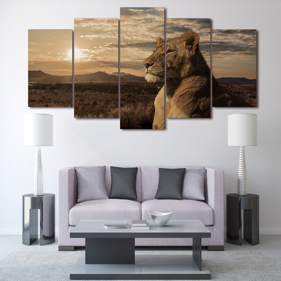 HD Printed Steppe lion Painting on canvas room decoration print poster picture canvas Free shipping/ny-2057