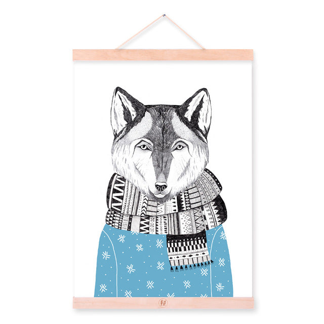 Watercolor Modern Nordic Kawaii Animal Wolf A4 Framed Canvas ...