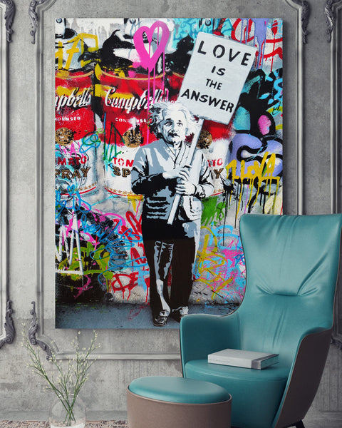 HD Printed 1 piece canvas art Banksy graffiti spray Einstein love is the answer Painting poster free shipping ArtSailing