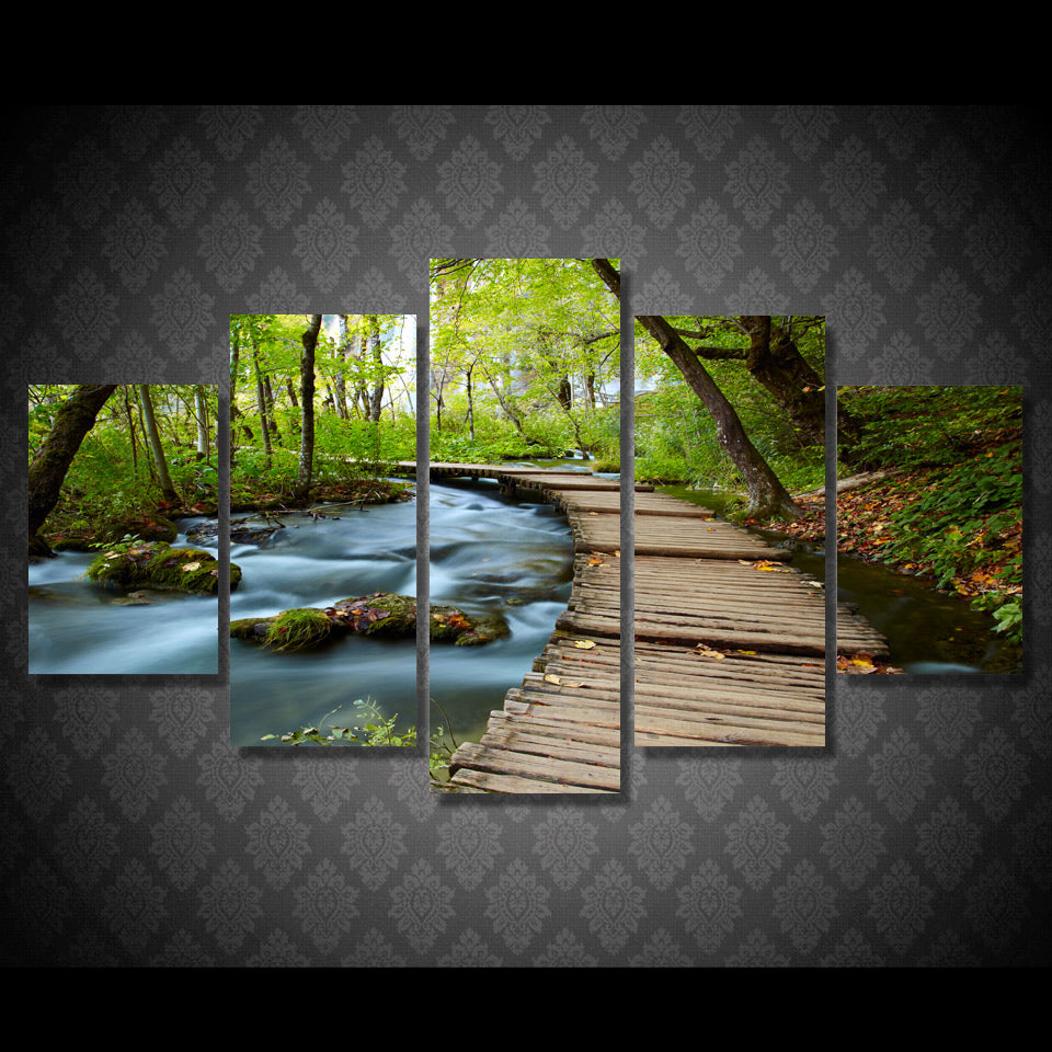 canvas art Printed Stream wooden woods Painting Canvas Print room decor print poster picture canvas Free shipping/NY-4927