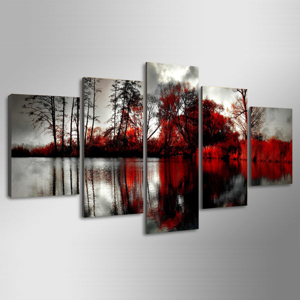 Printed trees park viewes lake clouds color Painting Canvas Print room decor print poster picture canvas Free shipping/NY-6398