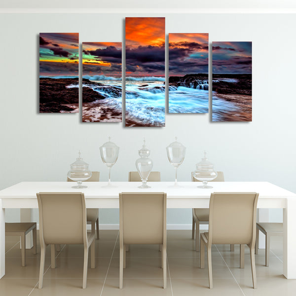 HD Printed clouds sea waves sun west Painting on canvas room decoration print poster picture canvas Free shipping/ny-6391