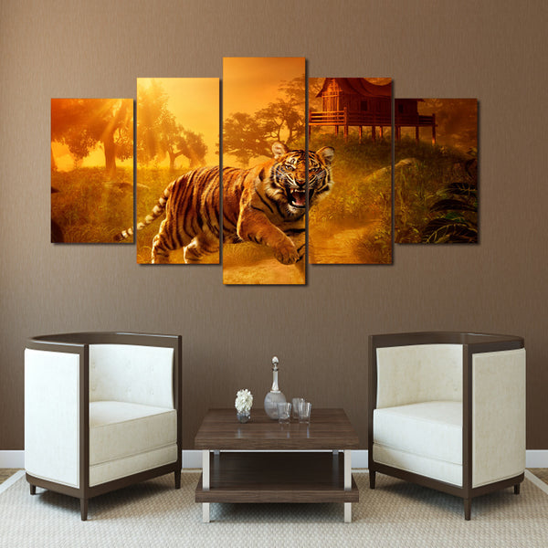 HD Printed Sunset Jungle Tigers Painting on canvas room decoration print poster picture canvas Free shipping/ny-1568