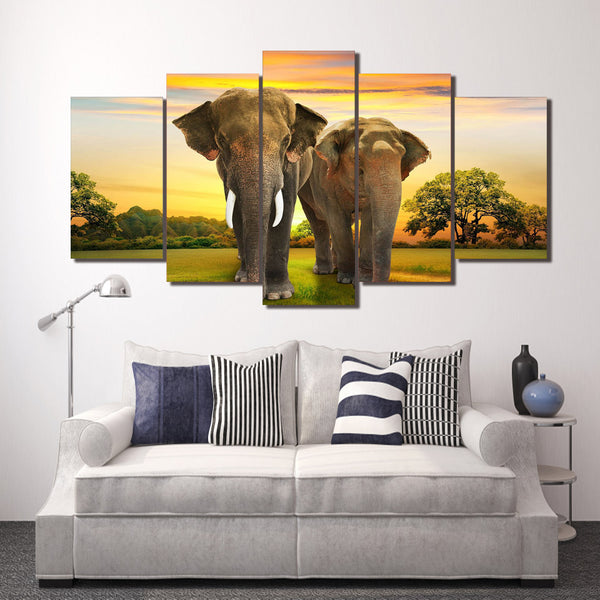 HD Printed Africa Elephants Landscape Group Painting room decor print poster picture canvas Free shipping/ny-015