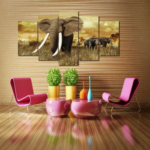 HD Printed Africa Elephants Landscape Group Painting room decor print poster picture canvas Free shipping/ny-017