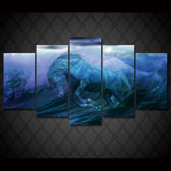 HD Printed water horse ocean fantasy Group Painting Canvas Print room decor print poster picture canvas Free shipping/ny-1697