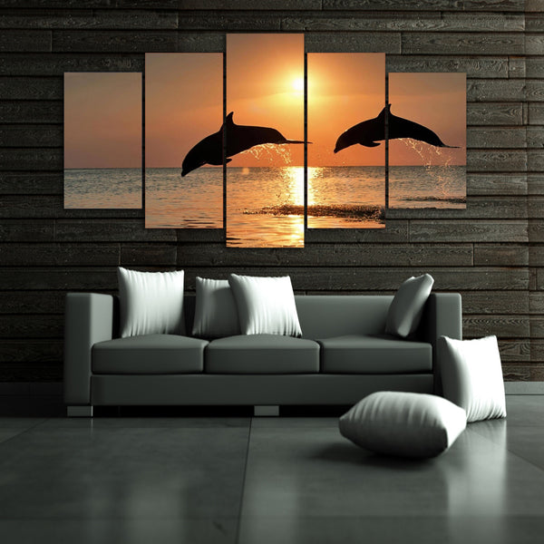 HD Printed dolphin ocean seascape Group Painting room decor print poster picture canvas Free shipping/ny-009